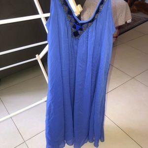 Express blue purple beaded M loose dress w/ slip